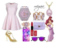 """""""megara look"""" by cherlinanelemans on Polyvore featuring Disney, Giambattista Valli, Chinese Laundry, Uncommon, Philippe Rouge, NYX, Irene Neuwirth, Rolex and Lord & Taylor"""