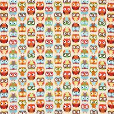467bd90dfb35b cream owl fabric Timeless Treasures colourful owls