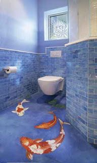 Koi fish bathroom floor - awesome! This isn't a kid's bathroom, but the floor mural would be perfect for one ... For more ideas, see http://www.bathroom-paint.net/bathroom-type.php