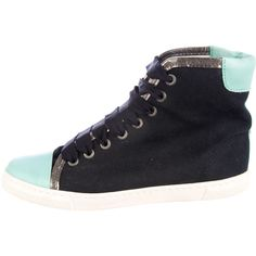 Pre-owned Lanvin High-Top Canvas Sneakers ($245) ❤ liked on Polyvore featuring shoes and sneakers