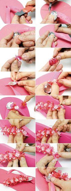 diy summer fashion ideas pink flip flops embellished beads