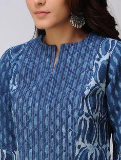 Indigo Dabu-printed handwoven cotton Kurta - All About Salwar Neck Designs, Churidar Designs, Kurta Neck Design, Neck Designs For Suits, Neckline Designs, Kurta Designs Women, Dress Neck Designs, Designs For Dresses, Blouse Designs