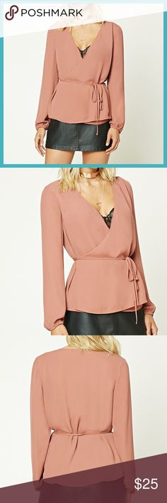 WOVEN PEPLUM BLOUSE SRING TRENDY!!! Woven Peplum Blouse A crepe woven blouse featuring a wrap front with self-tying laces, a peplum hem, and long cuffed sleeves. Available in Small and Medium. Tops Blouses