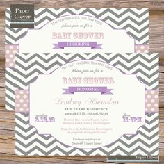 Girls Baby Shower Invitation Purple & Gray Chevron by paperclever,