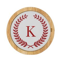 Personalized Family Crest Monogram Red Round Cheese Board