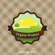 Etiqueta a color de productos orgánicos. Organic product.