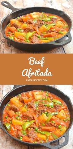 Filipino Beef Afritada (beef stew made of beef chunks, potatoes, carrots and bell peppers slow-cooked in a thick, flavorful tomato sauce) / KawalingPinoy.com
