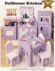 Plastic Canvas fashion doll furniture patterns and ideas Puppenhaus Küche Kunststoff Leinwand ePattern Barbie Furniture, Dollhouse Furniture, Kitchen Furniture, Furniture Vintage, Furniture Ideas, Furniture Nyc, Furniture Websites, Inexpensive Furniture, Furniture Outlet