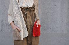 simple garter cardi + contrast colour pockets