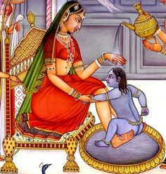 Baby Krishna Resists His Bath, Hindu Water Color Painting on PaperArtist: Kailash Raj Mughal Paintings, Indian Paintings, Rajasthani Painting, Baby Krishna, Paper Artist, Gods And Goddesses, Paint Colors, Watercolor Paintings, Colours