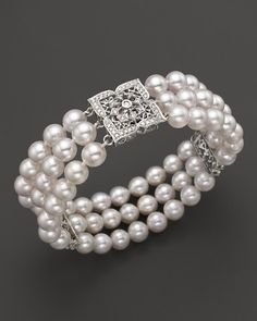 """euvieira""""Cultured Freshwater Pearl And Diamond Bracelet in 14 Kt. Gold, mm Heart it on Wantering and get an alert when it goes on sale. Bling Jewelry, Pearl Jewelry, Wedding Jewelry, Beaded Jewelry, Jewelry Bracelets, Jewelry Accessories, Pearl Bracelets, Pearl Rings, Pearl Necklaces"""