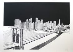 The hand-drawn work of Chris Dent takes on the modern metropolis – depicting architecture in a way that is at once meticulously accurate &. Brooklyn Bridge, Brooklyn Nyc, New York Theme, Building Map, London Clubs, Modern Metropolis, City Illustration, Architecture Drawings, Architecture Illustrations
