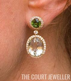 Kiki McDonough earrings first worn during India Tour 2016.  According to Rebecca English, the earrings were made by the company especially for Kate to mark the birth of Princess Charlotte last May. The stones are green tourmaline and green amethyst.