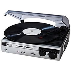 Jensen JTA 230S 3 Speed Stereo Turntable With Built In Stereo Speaker  System (Silver