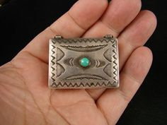 1930'S NAVAJO TURQUOISE SILVER PILL BOX C.G. WALLACE 17.7 GMS TUCSON ESTATE