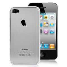 Plastic Edged Metal Back Cover Pattern Hard Case For iPhone 4S - Silver