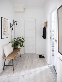 Not so minimalist, a simple house plant sits in the front entrance of this white boot room. Take a seat and take off your shoes and enjoy this home design success with your favorite house plants! - via Coco Lapine Design