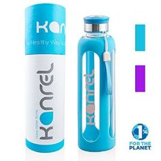 Glass Drinking Water Bottle by Kanrel® (Blue, 20 Ounce) BPA Free, Eco Friendly, Leak Proof, Reusable, Best On Amazon, Dishwasher Safe, Easy Clean, Designer, Sports, Travel, Yoga & Gym, Cool Birthday Gifts for Mom & Dad, Office Gifts for Women & Men #SportsAndOutdoors http://amzn.to/1VaVATG