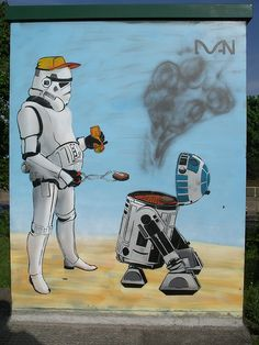 Geeky Graffiti - Don't tell me you never considered just how perfect little R2D2 would be as a barbecue. Of course, if the Empire won, I'm sure this would be the perfect revenge for the rebel droid.