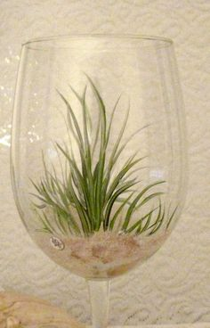 Beach grass hand painted set of two wine glasses by DeannaBakale, $36.00