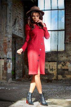 îmbrăcăminte dama online casual PrettyModa.ro Viscose Dress, Street Style, Buttons, Spandex, Boutique, How To Wear, Vintage, Dresses, Street Fashion