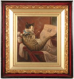 """""""Barber Shop Felines, 1900"""" By the time William De La Montagne Cary was 20 years old, he was already an illustrator for Harper's and Leslie's magazines in New York City.  He made the sketches of the forts along the Missouri River before they were abandoned at the start of the Civil War. He worked in oil, watercolor, pen and ink, and black and white wash.  Cats at the Barber shop. 19th Century Paintings  For Sale at Bedford Fine Art Gallery, Bedford, PA  www.bedfordfineartgallery.com"""