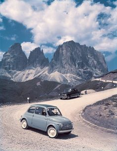 Fiat in the Dolomites, Italy. 1957