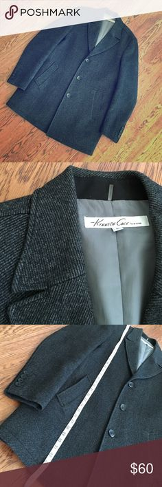 Kenneth Cole Men's Pea Coat Excellent condition, no signs of wear!  Measurements in pictures. Beautiful gray/black diagonal wool blend. Medium weight. Kenneth Cole Jackets & Coats Pea Coats