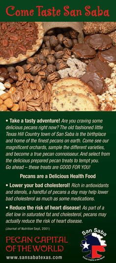 Rack Card for where to purchase pecans and more pecans in San Saba, Texas, The Pecan Capital of the World!