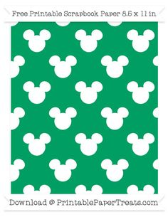 Free Shamrock Green Background Large Mickey Mouse Head Pattern Paper