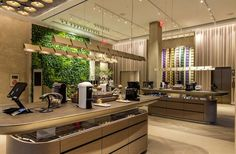 "Ambius Living Wall at the Nespresso Boutique in NYC - This 286 square foot beauty is home to 1,756 Philodendron Cordatum, Neon Pothos, Marble Queen Pothos, and Asplenium antiquum ""Birdsnest Fern"" plants."