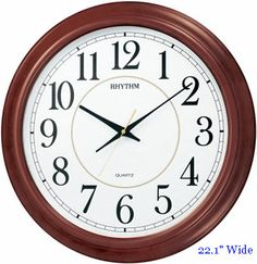 Rhythm Admiral Large Wall Clock in a traditional style and a Quiet-Sweep movement that moves the second hand in a continuous fashion.