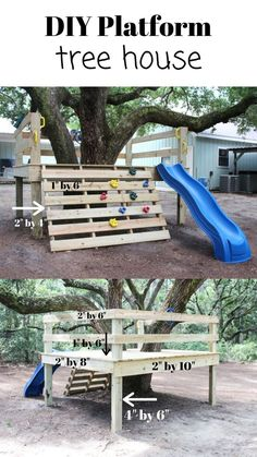 DIY platform TREE HOUSE with a simple tutorial on how you can create your own tree house like this one. Good for all ages. DIY platform TREE HOUSE with a simple tutorial on how you can create your own tree house like this one. Good for all ages. Backyard For Kids, Diy For Kids, Kids Yard, Backyard Play Areas, Play Yard For Babies, Backyard Slide, Garden Kids, Outdoor Projects, Home Projects