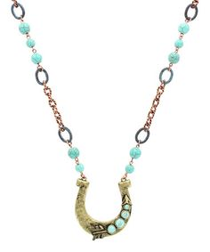Look what I found on #zulily! Mint & Gold Horseshoe Necklace #zulilyfinds