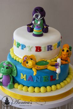 Barney Two Tier designer cake by Annica's