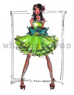 lime and teal party dress