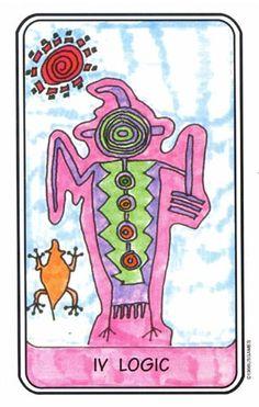 Rock Art Tarot by Jerry Roelen (1996) Basado en el tarot Rider Waite utiliza petroglifos antiguos de arte rupestre (sobre todo del sudoeste americano) como símbolos y arquetipos; coloreado con marcadores neón brillante.