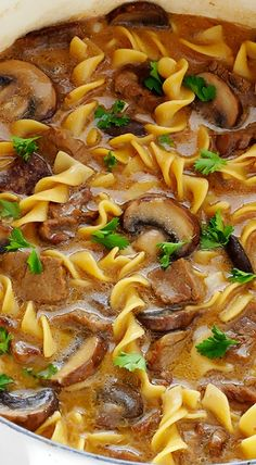 This Beef Stroganoff Soup recipe is easy to make, full of tender beef and noodles, and an absolutely delicious dinner! This Beef Stroganoff Soup recipe is easy to make, full of tender beef and noodles, and an absolutely delicious dinner! Healthy Soup Recipes, Beef Recipes, Cooking Recipes, Easy Recipes, Cheap Recipes, Beef Stroganoff Soup Recipe, Mushroom Stroganoff, Chicken Stroganoff, Clean Eating Tips