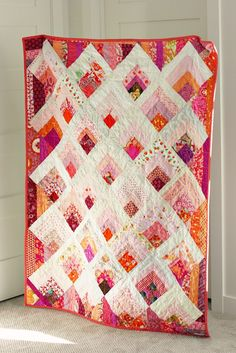 Blue Elephant Stitches: Pink Quilt on Point