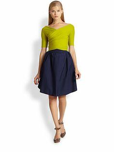 Carven - Wrap-Effect Jersey & Sateen Dress - Saks.com