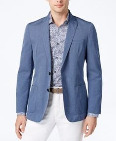 d931958d3 Michael Kors Men's Slim-Fit Chambray Blazer & Reviews - Blazers & Sport  Coats - Men - Macy's