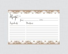 Burlap And Lace Bridal Shower Recipe Cards