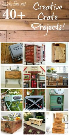 Farmhouse Friday #11 -40+ Creative Crates Ideas - Knick of Time including my freight crate turned side table with hairpin legs. <3