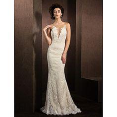 Trumpet/Mermaid Jewel Sweep/Brush Train Lace Wedding Dress (1798928)