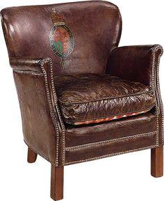 Professor nojatuoli antiikkinahka ruskea, selkälogo | Kalusteniemi.net