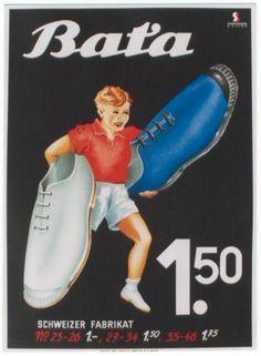Vintage BATA Poster: Sport Sneakers Boy, ca 1940 #batashoes #bata120years #advertising