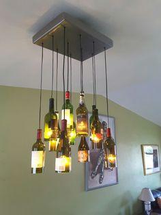 Wine Bottle Chandelier: Baseplate Is 16 Gauge Steel Sheet Bent And Brushed  To Stainless Surface · Weinflasche KronleuchterHeißluftpistoleWeinflaschen  ...