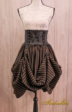 Steampunk Lolita Skirt  Black and brown by IndrolitaClothing