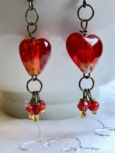 Red Valentine Lampwork Glass Heart Drop Earrings Doodaba Red Earrings, Glass Earrings, Heart Earrings, White Christmas Stockings, Pink Christmas, Pink Sparkly, Red Glass, Pink Roses, Handmade