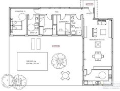 Ideal floor plan but 2 bedroom Minimalist House Design, Minimalist Home, L Shaped House Plans, Small Modern House Plans, Container House Plans, Solar House, Shipping Container Homes, Architecture Plan, House Floor Plans
